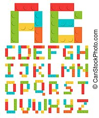 Alphabet Set Made of Toy Construction Brick Blocks Isolated...