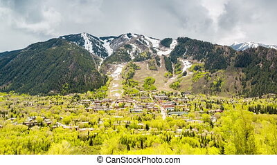 Panorama of famous Aspen, Colorado, USA