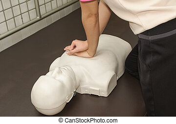 First Aid Instructor Showing Resuscitation CPR Technique