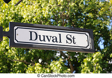 Duval street sign in Key West, Florida Keys