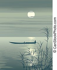 Boat on lake against the Moon.