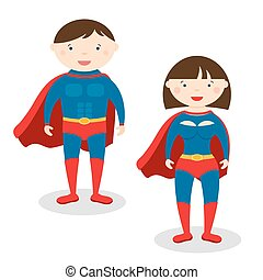 Illustration superman and superwoman isolated on white...