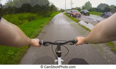 Man riding a bicycle POV Time-lapse