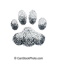 Illustration of doodle halftone illustration with dog paw print