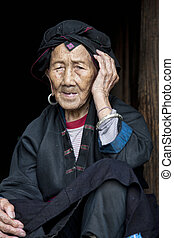 96 year old woman from the Hong Yao Ethnic Tribe - A...