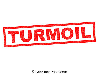 TURMOIL red Rubber Stamp over a white background