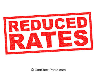 REDUCED RATES red Rubber Stamp over a white background.