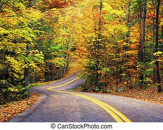 Fine art print of Autumn road through Pine Mountain State...
