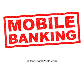 MOBILE BANKING red Rubber Stamp over a white background.