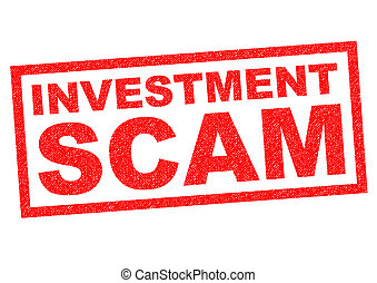 INVESTMENT SCAM red Rubber Stamp over a white background