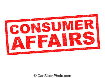 CONSUMER AFFAIRS red Rubber Stamp over a white background
