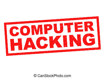 COMPUTER HACKING red Rubber Stamp over a white background