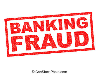 BANKING FRAUD red Rubber Stamp over a white background