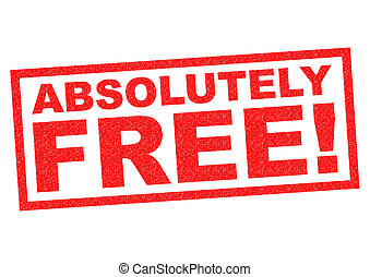 ABSOLUTELY FREE red Rubber Stamp over a white background