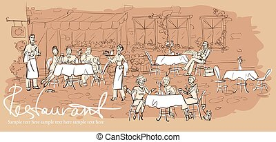 People at restaurant, outdoor cafe - Hand drawn horizontal...