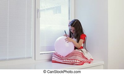 Happy Cute Child Girl - The children's room on the window...