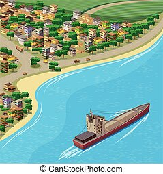 Coastline - stylized vector illustration of the town and the...