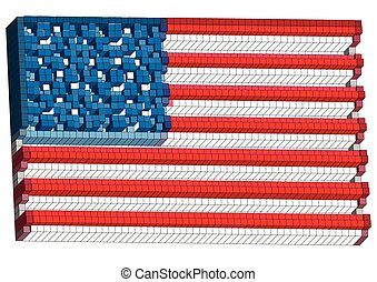 abstract american flag isolateed on a white background