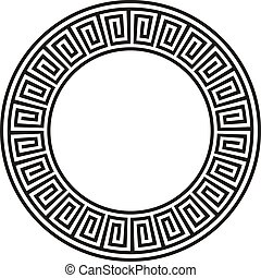 Ancient circular Aztec design in black and white