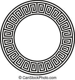 antiguo, circular, azteca, diseño, en, negro, y,...