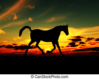Horse Landscape - A horse in the foreground with a sunset...