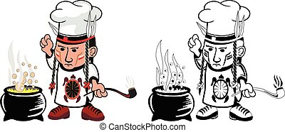 American indian Chef - Cartoon drawing of an american indian...