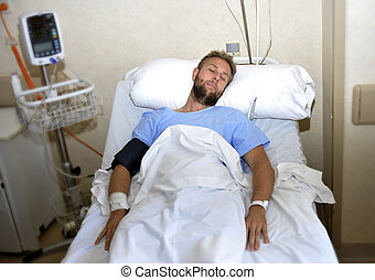 injured man lying in bed hospital room resting from pain looking in bad health condition
