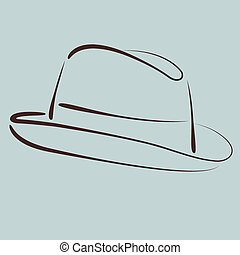 Sketched hat. - Sketched man s fedora hat silhouette....