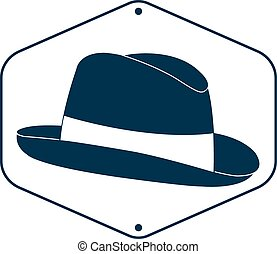 Vintage man s hat label Vector illustration