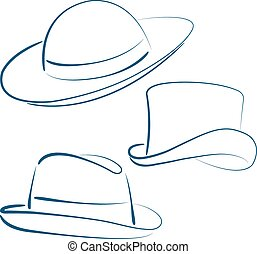 Lady and gentleman hats. - Illustration of sketched lady and...