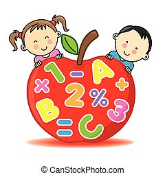 Children with an apple that contains numbers and letters