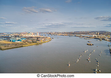 River Thames in London - Aerial view of the River Thames in...