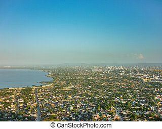Cartagena Aerial View from Window Plane - Aerial view from...