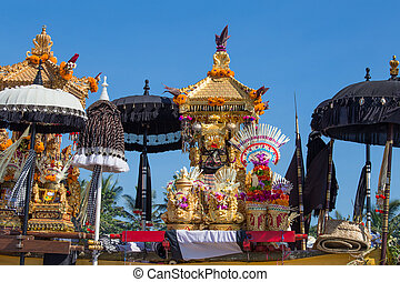Traditional Balinese ritual altar during celebrate Balinese...