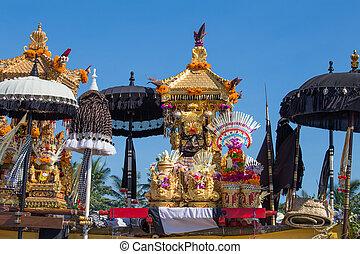 Traditional Balinese ritual altar during celebrate Balinese...