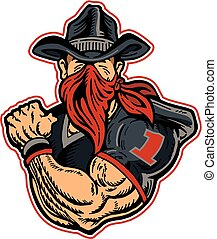 bandit football player - muscular cowboy bandit football...