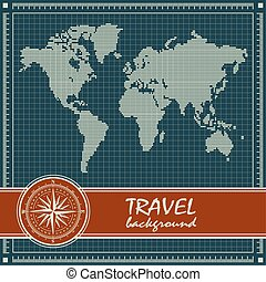 Blue retro travel background with world map