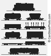 Set of train with freight wagons.