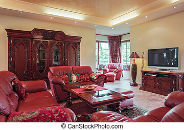 Leather seat in sitting room - Leather claret seat in...