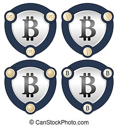 Set of four abstract icons with golden screws and bit coin symbol