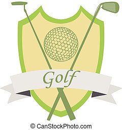 Golf - Isolated heraldry shield with text, a ribbon, a golf...