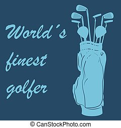 Golf - Colored background with text and golf clubs. Vector...