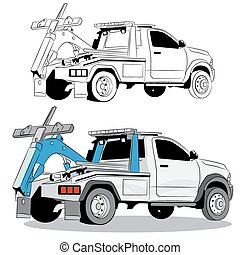 Tow Truck Drawing - An image of a tow truck.