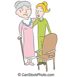 Nursing Home Assistant - An image of a cartoon girl helping...