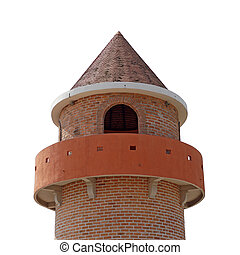 part of a castle tower on white background