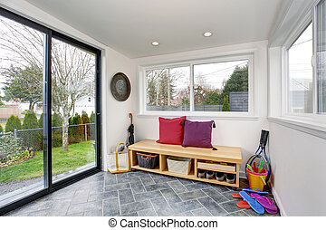 Small back room with sliding glass door. - Small back room...