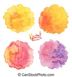 Warm colors vector watercolor splashes set - Warm colors...
