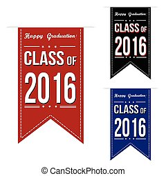 Class of 2016 banner design set over a white background,...