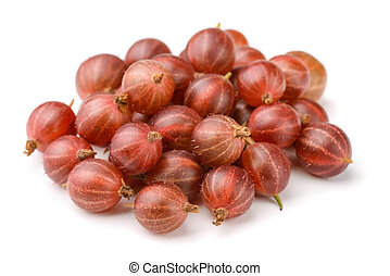 Red gooseberry - Heap of red gooseberry isolated on white