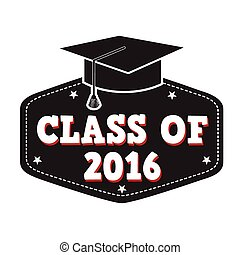 Class of 2016 label on white, vector illustration